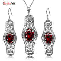 Szjinao 925 Silver Sets Wedding Costume Accessories Garnet Bridal Earrings /Pendant Jewelry Sets For Brides Wholesale