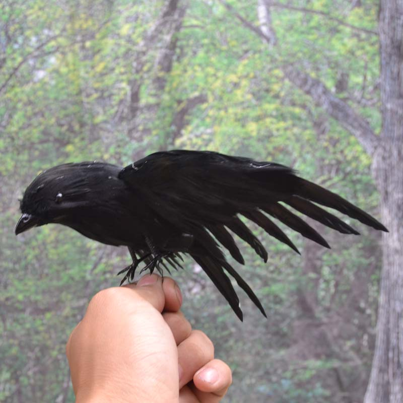 new simulation black crow toy polyethylene & furs wings doll gift about 15cm