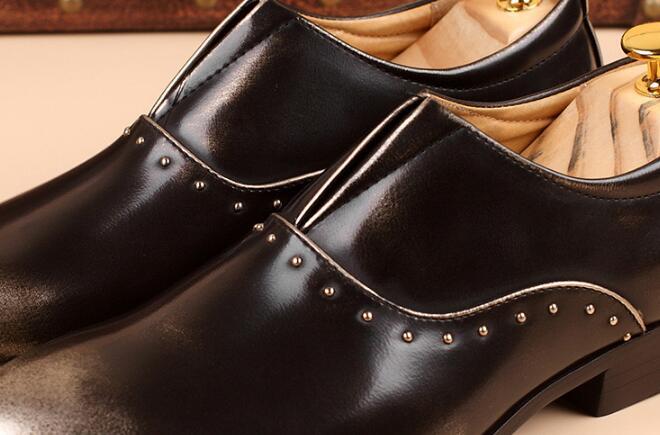 Pic Homme Pic Formelle Mariage Chaussures Cuir Pour as Pu Bout Pointu Sur As Slip De Hommes Robe Richelieus D'affaires En T4HZC