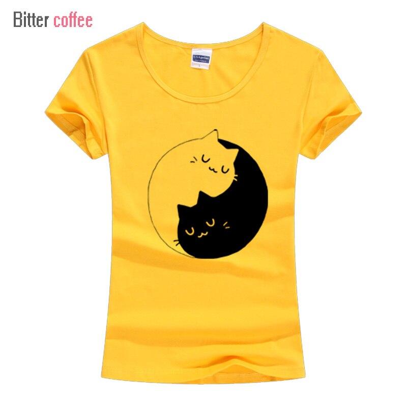Cute Cat Yin Yang Toddler Baby Girls Short Sleeve Ruffle T-Shirt