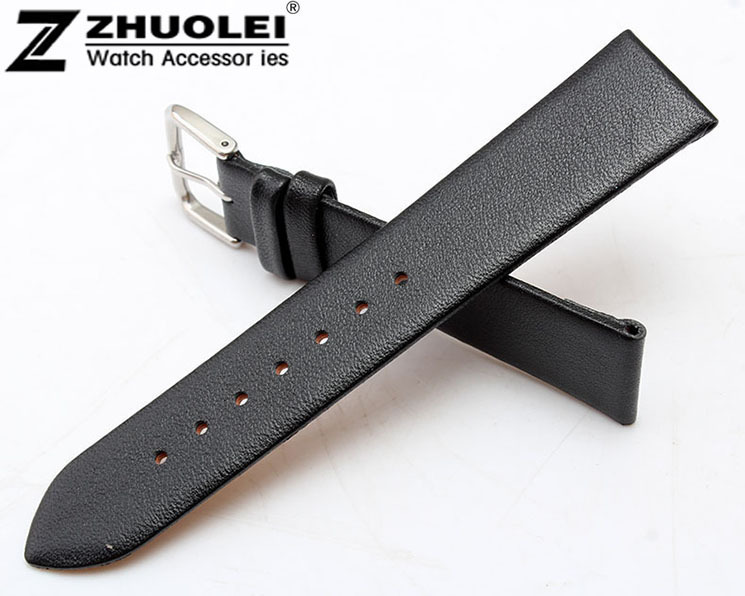 12mm 14mm 16mm 18mm 19mm 20mm 22mm Black Genuine Leather Watchband Ultrathin Silver Stainless Steel Leather Strap 12mm 14mm 16mm 18mm 19mm 20mm 22mm black genuine leather watchband ultrathin silver stainless steel leather strap
