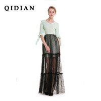 QI DIAN Sexy Dress 2018 Spring Original New Splicing Lace Mesh Long Section Dress Lace Sleeves
