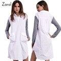 2017 Новая Коллекция Весна Большой Размер Белый Dress Женщины Повседневная Dress с Большими Карманами Плюс Размер женская Одежда Vestidos Туника