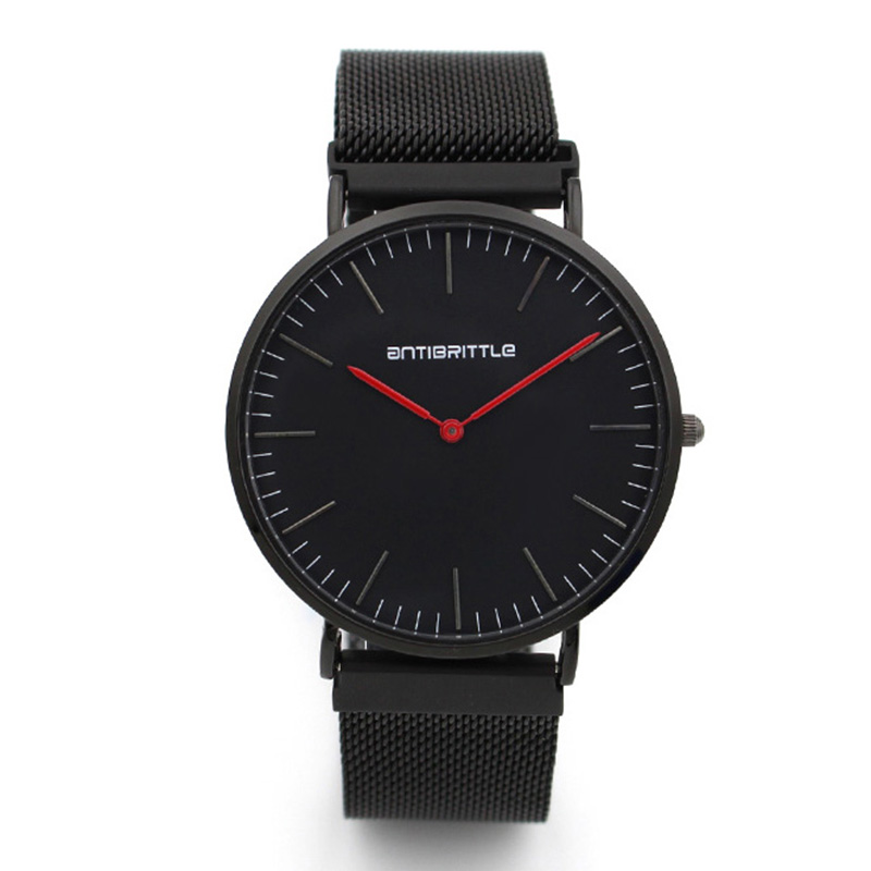 Japan Quartz Black Men Watches Ultra Super Thin Magnet Strap Stainless Steel Luxury Women Wristwatch Red Hand Leather Waterproof ultra black