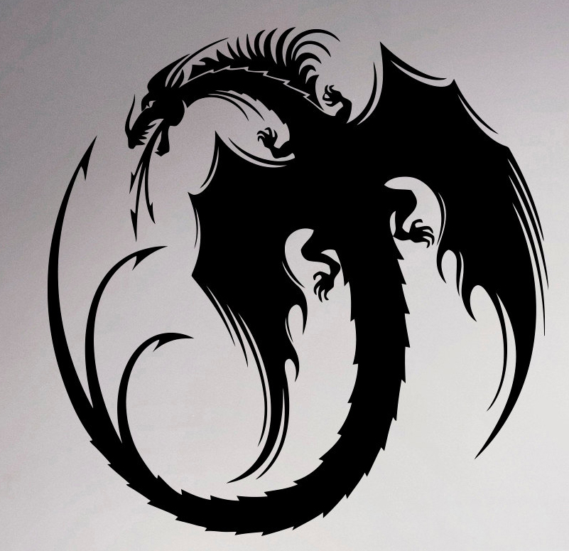 Dragon Vinyl Decal Monster Wall Sticker Gothic Home Interior Retro
