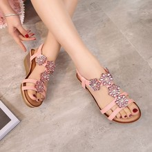 Floral Gladiator Wedge Sandals Women Rhinestone Shoes Rome Bohemian Casual Sandals Wedges Elastic Band Lasies Sandals Summer bohemian sandals for women wedge shoes crystal decoration grey army green shoes ladies cute casual shoes rhinestone sandals