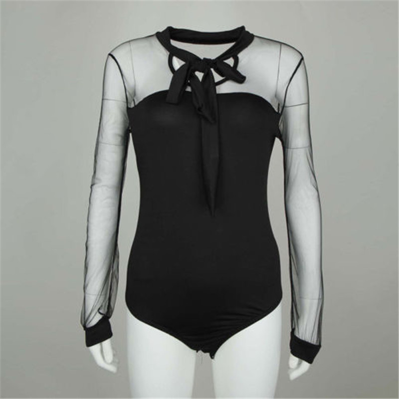 Trendy Women clothes Black Long Sleeve Sexy black solid Lace Up V-neck Bodysuit Leotard casual transparent Jumpsuit one pieces