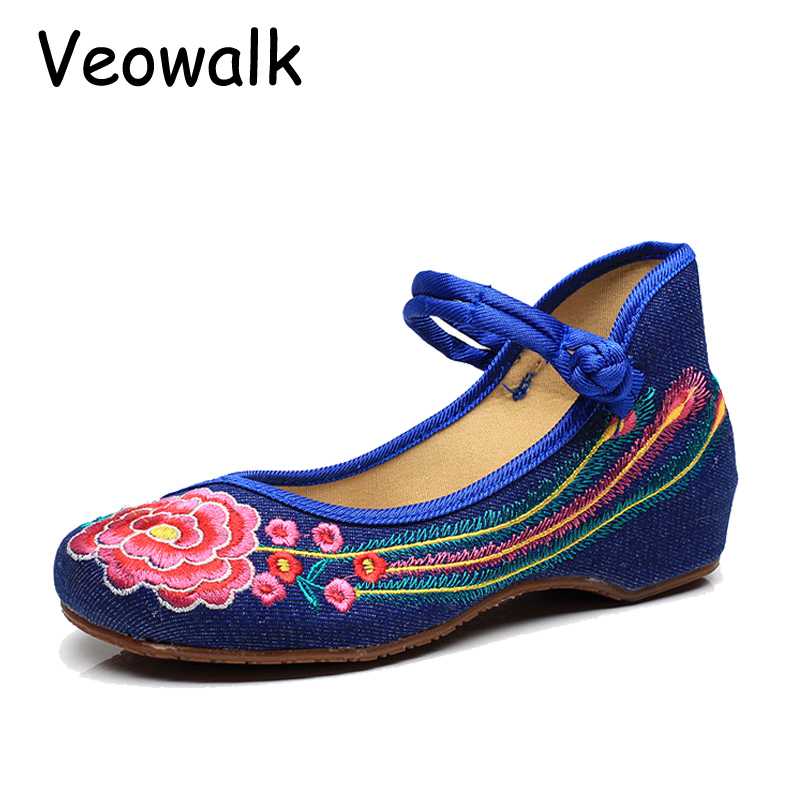 Veowalk Women Casual Flower Embroidery Shoes Chinese Style Old Beijing Ladies Canvas Flats Zapatos Mujer Plus Big Size 35-41 vintage embroidery women flats chinese floral canvas embroidered shoes national old beijing cloth single dance soft flats