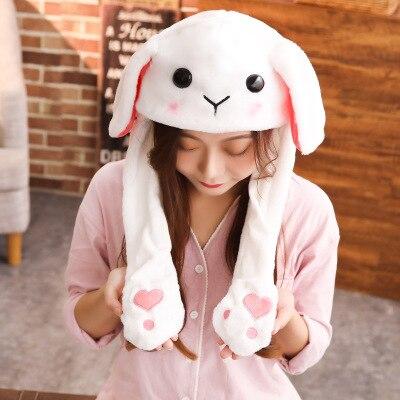 Новинка, Мультяшные шапки с подвижными ушками, милый Игрушечный Кролик, шапка с подушкой безопасности, Kawaii, забавная шапка для девочек, детская плюшевая игрушка, рождественский подарок - Цвет: White rabbit