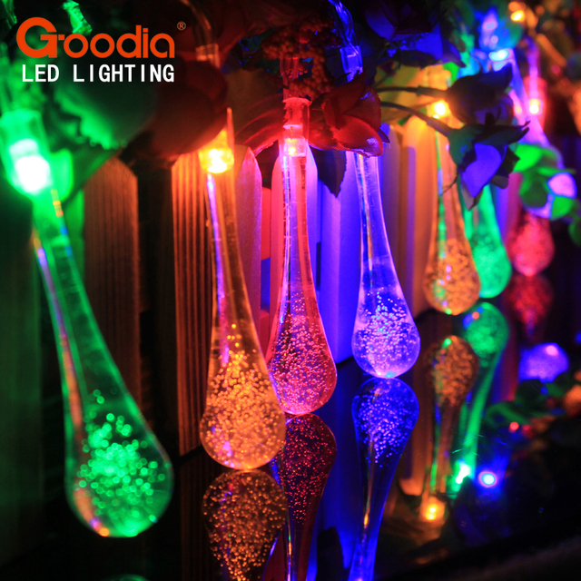 4.8M 20 LED Raindrop Solar Powered Outdoor String Lights for Outside Garden Patio Party Christmas 2 Modes (Multi Color)