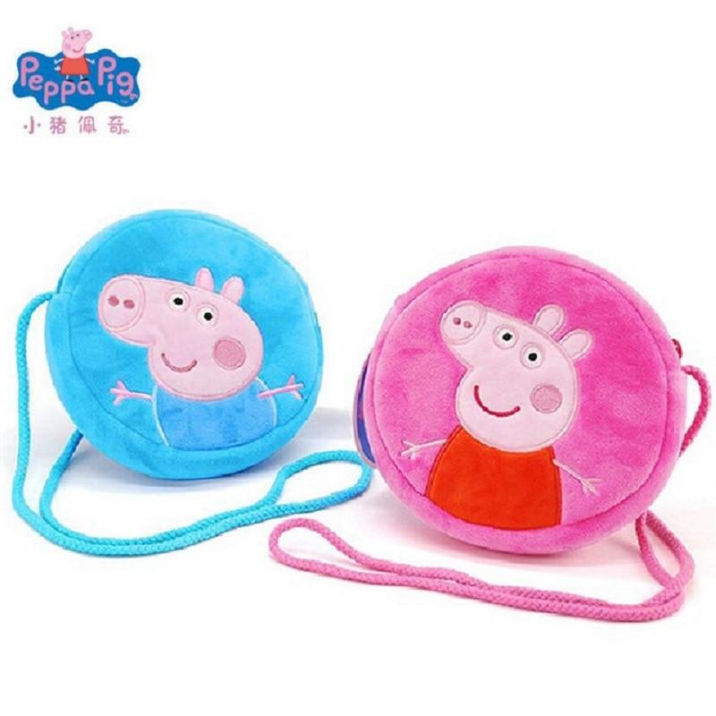 Original Peppa Pig Little Girl George Pink Pig Plush Toy Child Girl Boy Kawaii Backpack Wallet Bag Mobile Phone Bag Doll Gift