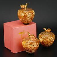 1pcs Golden Crystal Apple With Nice Gift Box Home Decoration Arts&Collection Christmas Wedding Souvenir Gifts