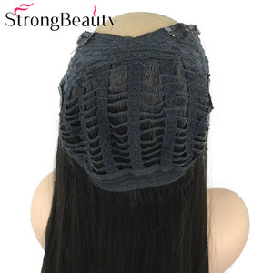 Image 3 - سترونغبيوتي طويل مستقيم الاصطناعية 3/4 الباروكات المرأة نصف باروكة شعر أسود/بني الحرارة موافق