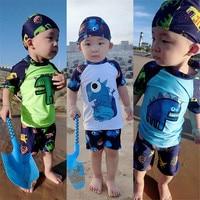 Baby Boys Swimming Suit Summer Bathing Set Child Short Sleeve Dinosaur Two Piece Swimwear Cartoon Kids Beach Sun Protective Suit