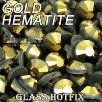 Aurum hematite oro Paquete Grande hotfix Diamantes con piedras falsas SS6 SS10 SS16 SS20 ss30 DMC cristales de espalda plana glitters piedra para DIY ropa
