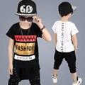 0-8Year boys que arropa 2 unids niños ropa de moda de manga corta t-shirt + harem pants ropa de los niños hip-hop traje de deporte
