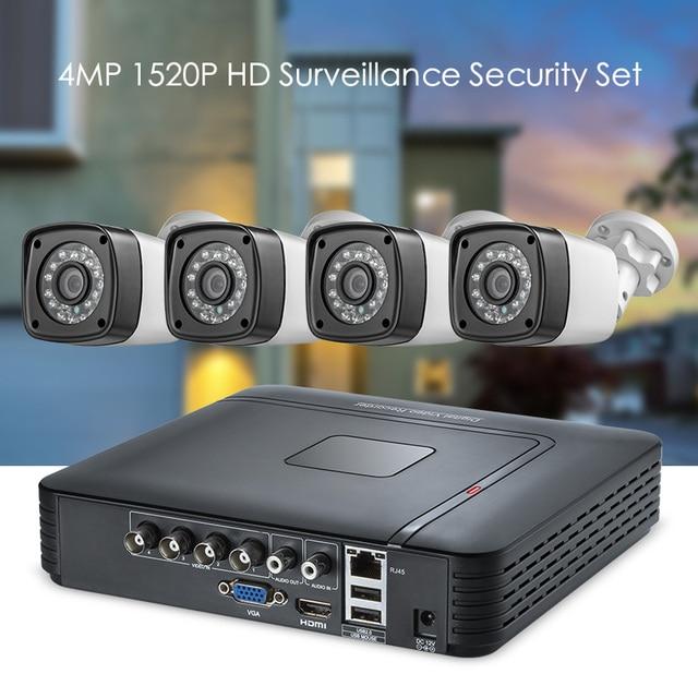 טלוויזיה במעגל סגור HD 4MP 1520 P 4CH 5in1 AHD DVR H.264 מעקבים מערכת עמיד למים חיצוני מצלמה אבטחת מערכת וידאו CCTV P2P HDMI ערכת