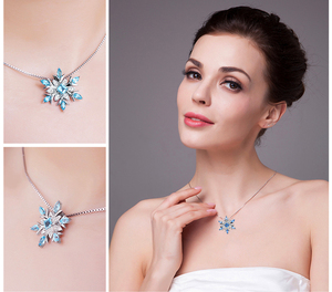 Image 4 - JPalace Snowflake Natural Topaz Pendant Necklace 925 Sterling Silver Gemstones Choker Statement Necklace Women No Chain
