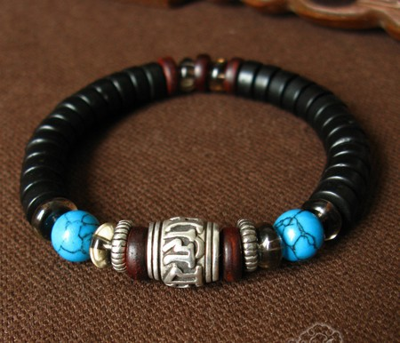 Handmade Tibetan Silver OM Beads Bracelet Tribal Beaded Bracelet Coconut Shell