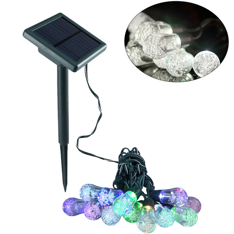 7 Colors Led Solar Powered String Light Garland 5M 12 Bubble Bulbs Waterproof Wall Lamp Outdoor Lighting Patio Garden Sunlight forest stream sunlight waterproof wall hanging tapestry