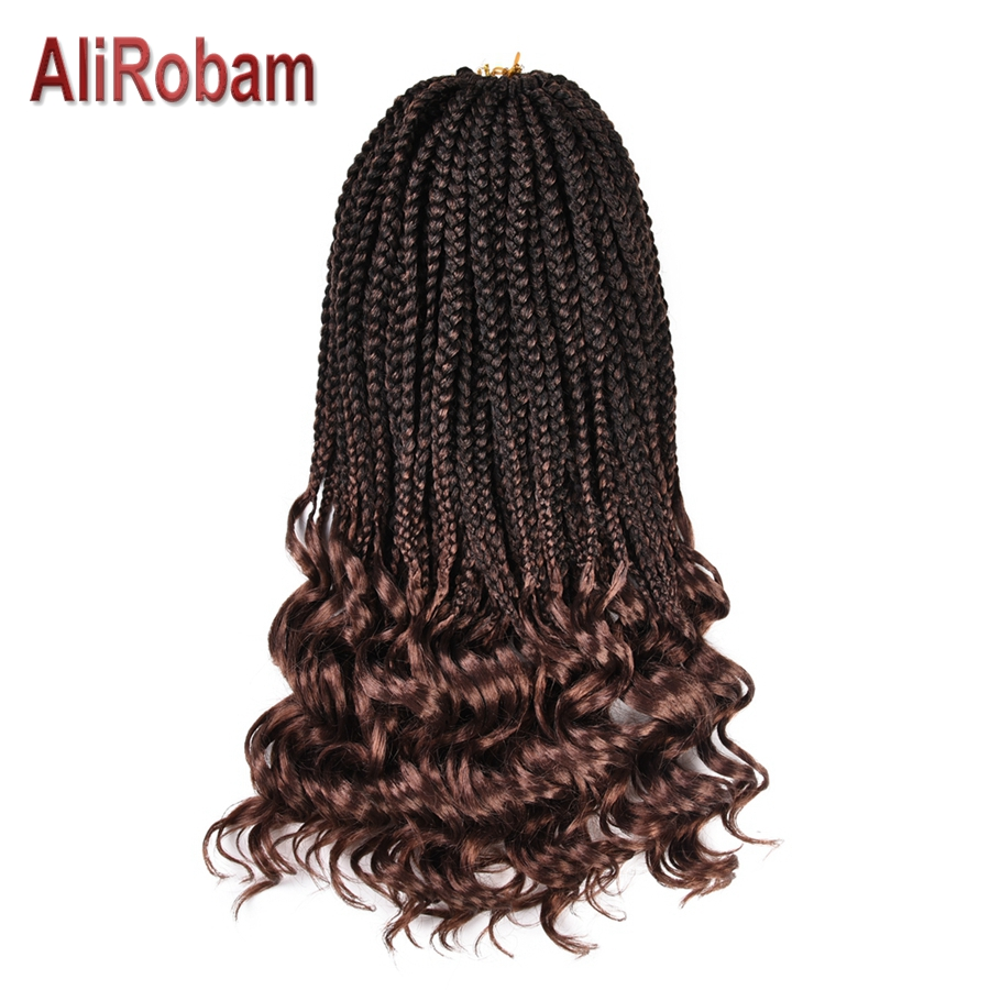 AliRobam Crochet Hair Wavy Ends Box Braids Ombre Black Brown Burgundy Synthetic Braiding Hair Extensions 22 Strands/pc(China)
