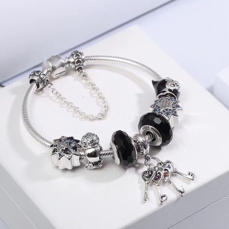 WinTion PAN Sterling silver 100% 2018 new dark glaze finished bracelet young models fashion black European and American style