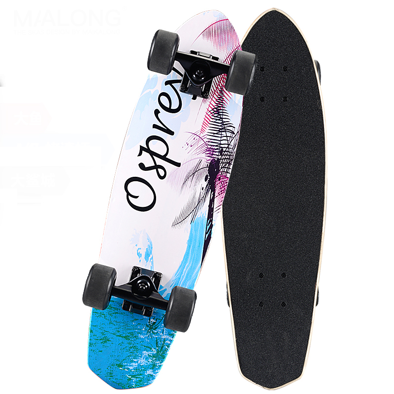 Maple Cruiser Skateboard 26 x 7 Professional Skateboard Longboard Skate board Complete for Girls Boys Shark Blue Black