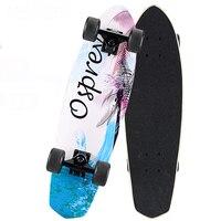 Maple Cruiser Skateboard 26 x 7 Professional Skateboard Longboard Skate board Complete for Girls Boys Shark Blue Black