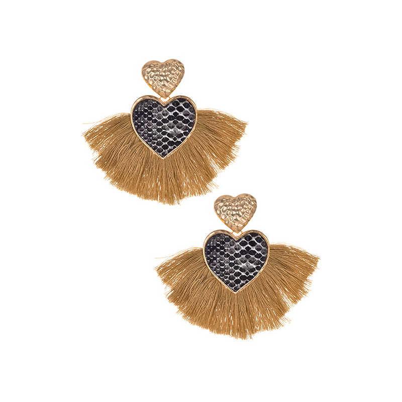 Vintage ยาวพู่ทำด้วยมือแหวน Hyperbole สำหรับสตรีชาติพันธุ์ Maxi Big รูปแบบงูสีกากีหัวใจต่างหูแฟชั่นเครื่องประดับ