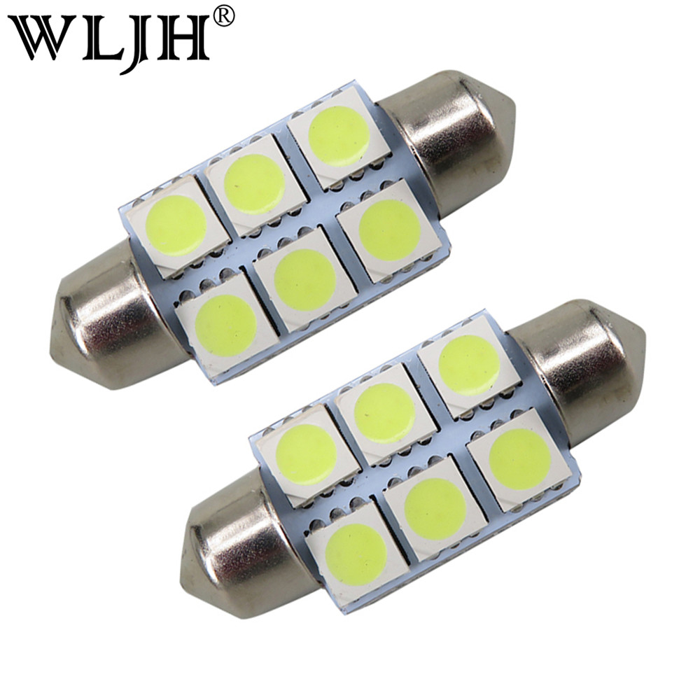 WLJH 10pcs White 36mm Festoon 5050 SMD 6 LED C5W Car Led Auto Interior Dome Door Light Lamp Bulb Pathway lighting 12V Work Lamp festoon 36mm 1 8w 180lm 9 x smd 5050 led white light car reading roof dome lamp 12v pair