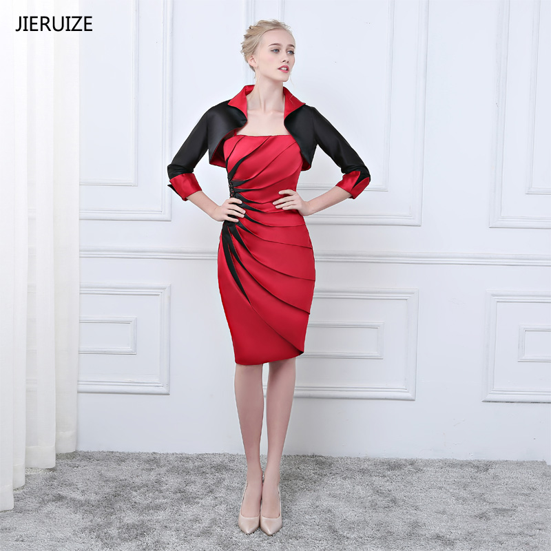 JIERUIZE Red And Black Mother of the Bride Dresses With Jacket 2018 Knee Length Short Formal Dresses Evening Dresses