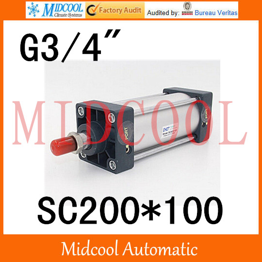 Sc series standard Adjustable cylinder SC200*100 single thread rod double-acting cylinder port 3/4 sc series standard adjustable cylinder sc125 125 single rod double acting air compressor piston hydraulic cylinder