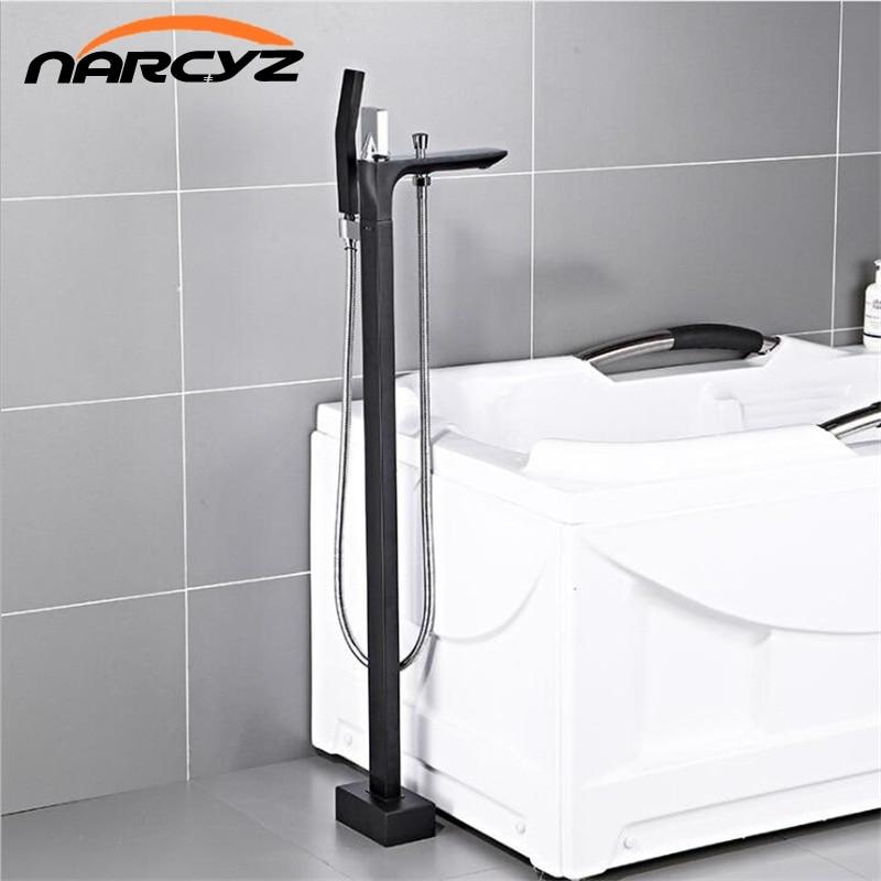 Bathtub Faucet Brass Black Floor Mount Bathroom Faucet Swivel Spout Single Handle Tub Filler Hand Shower