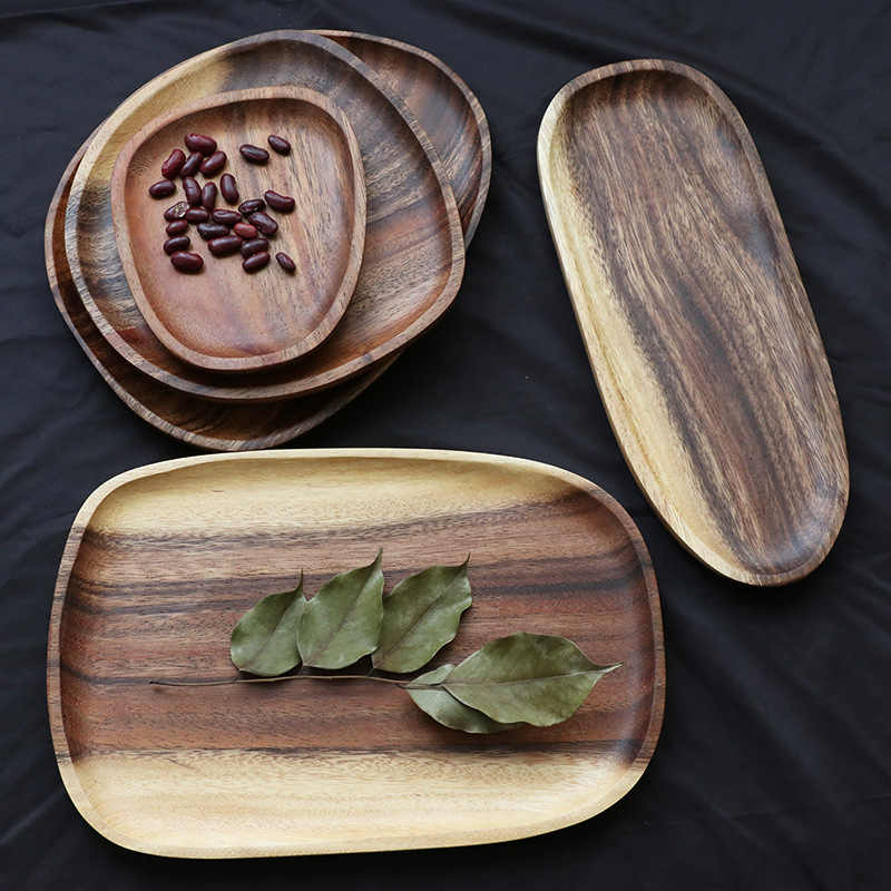 Whole Wood Irregular Oval Solid Wood Pan Plate Fruit Dishes Saucer Tea Tray Dessert Dinner Plate Tableware Set