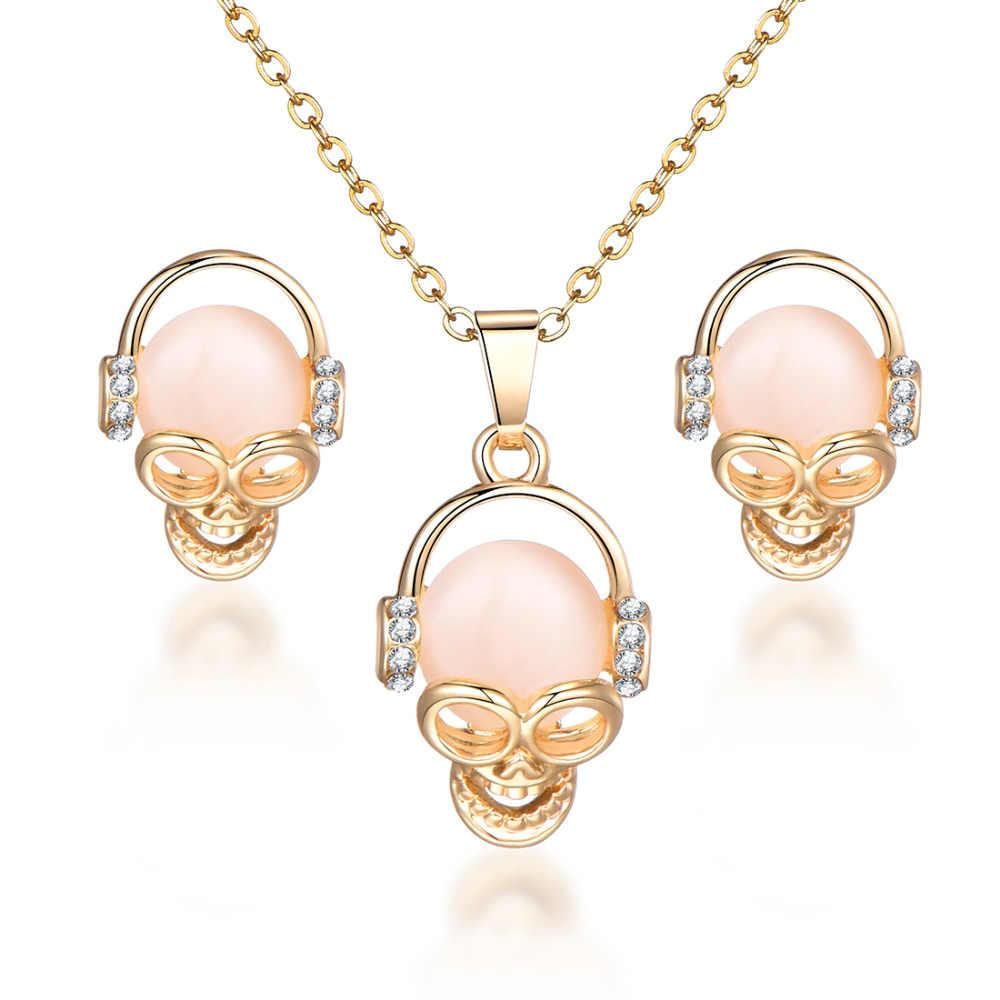 Ювелирные наборы из опалового камня, подвеска в виде совы, ожерелье, серьги, Золотая цепочка, Кристалл кошачий глаз, камни, Свадебные Ювелирные наборы для женщин, подарок
