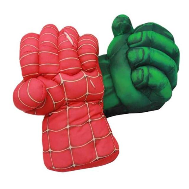 Dia das bruxas Cosplay Hulk Brinquedos De Pelúcia Curto Spiderman Superhero Hulk Superman Luva de Boxe Crianças Brinquedos Presentes Das Crianças Vermelho e Verde