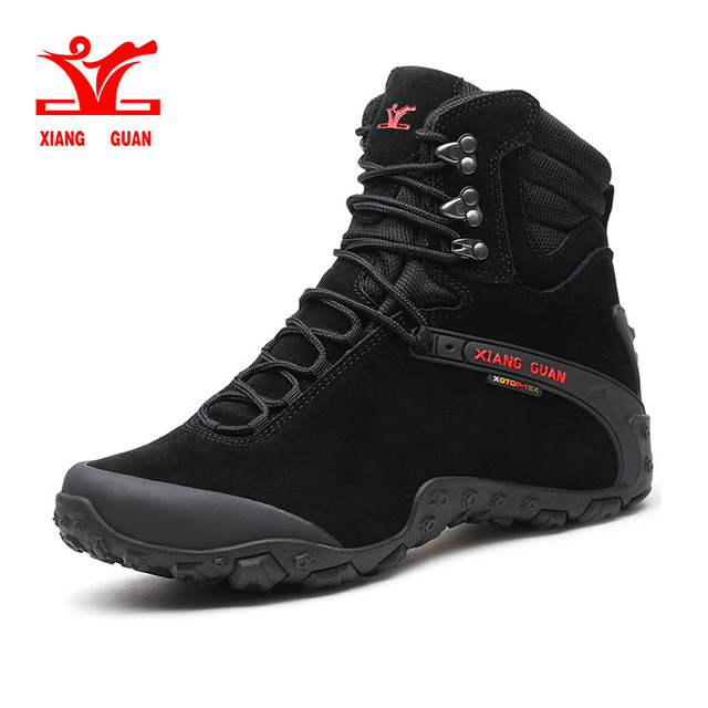Hiking Boots Trekking Shoes Men Non Slip Fur Lined Suede Winter Warm Climbing Sneaker
