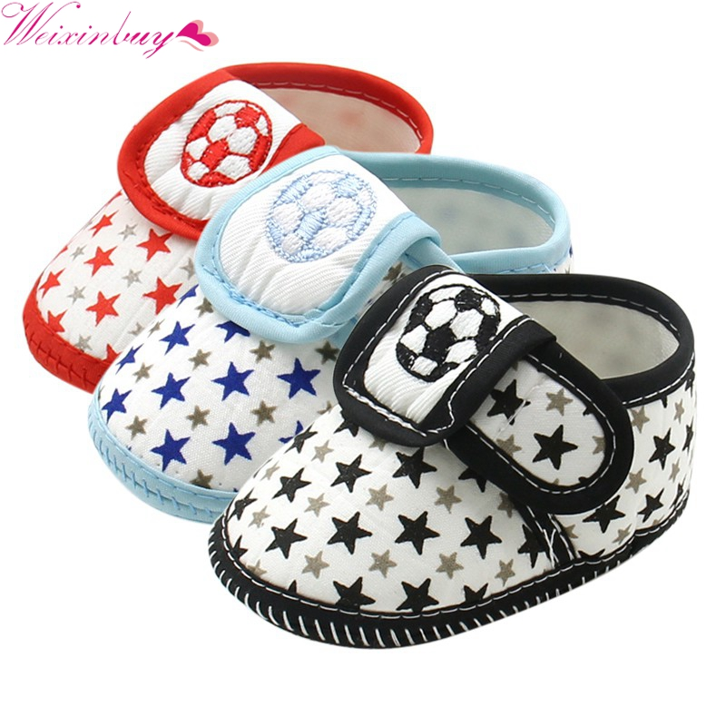 2017 Casual Shoes Toddler Infant Baby Shoes Prewalker Baby Boy GirlFirst Walkers Star Soccer Soft Bottom Anti-Slip Sneaker 0-12M