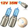 2 PCS Azul Chrome 12 V 35 w BA20D Head Lamp Luz Branca Motocicleta Da Bicicleta Da Lâmpada Do Farol