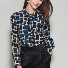 Женская шелковая блузка с длинным рукавом элегантная офисная