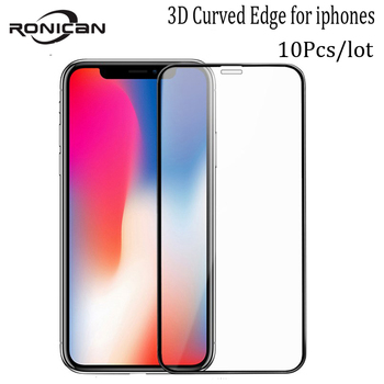 10Pcs For iPhone X XR XS 11Pro Max 3D Curved Edge 9H Tempered Glass Screen Protector Carbon Fiber Film For iPhone 6 6s 7 8 Plus