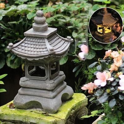 Japanese Style Outdoor Floor Courtyard  Resin Solar Lamp Palace Lanterns Landscape Lights Home Gardening Decoration Zen