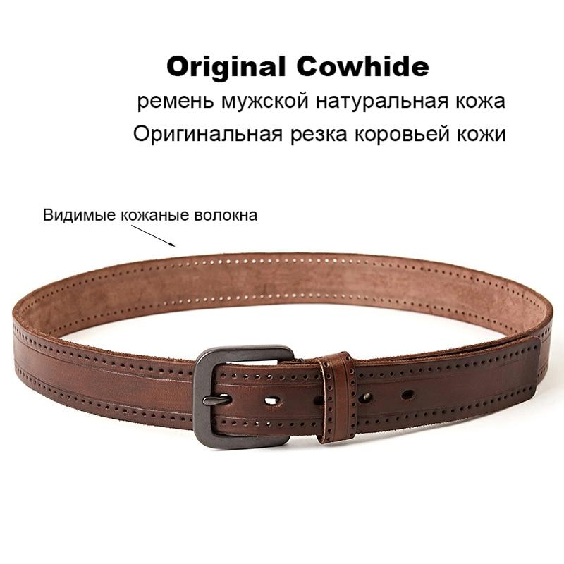 Image 4 - MEDYLA Fashion Vintage Original Cowhide Mens Genuine Leather Belt Alloy Pin Buckle Jeans Black Belt For Men MD535 DropshipMens Belts   -
