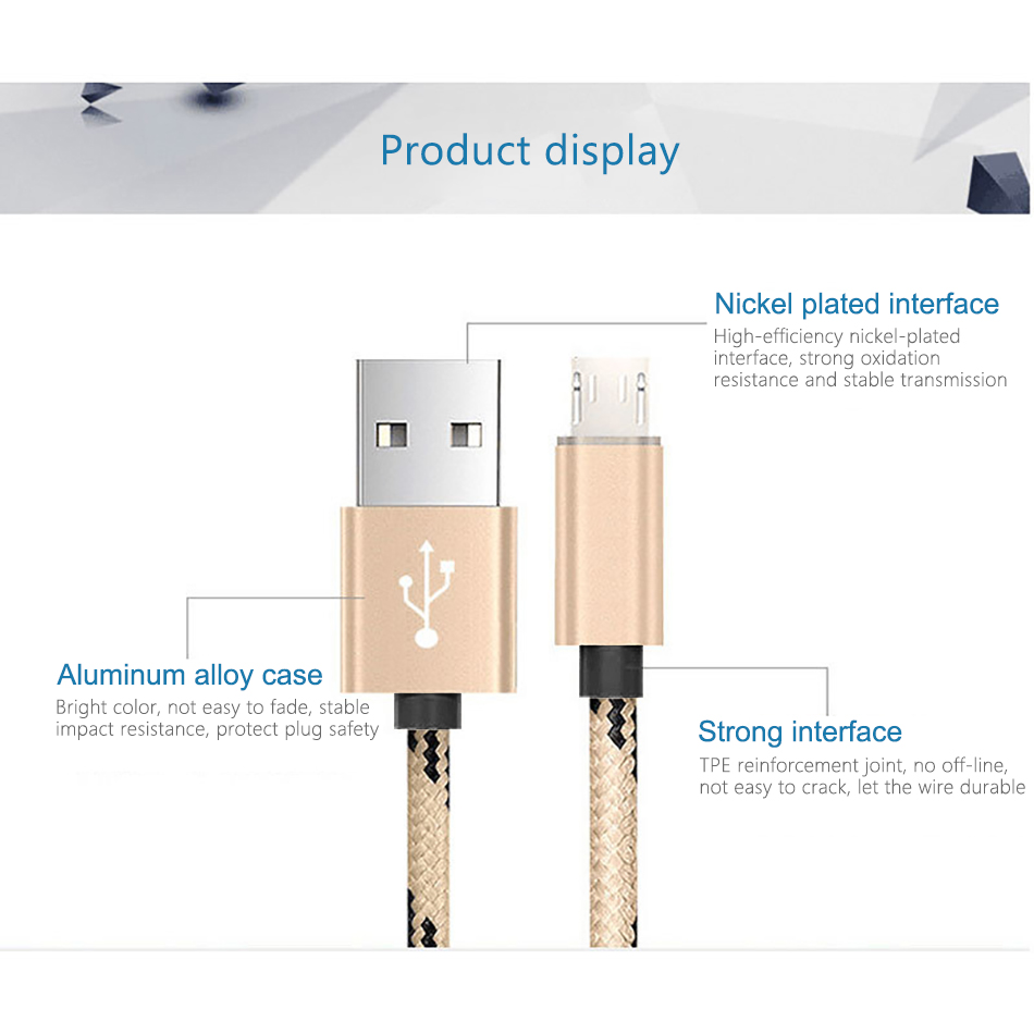 !ACCEZZ USB Sync Charging Cable Micro USB For Xiaomi For Samsung Galaxy S7 S6 For Huawei Android Phone Fast Charger Cord Line (6)