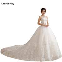 2015 Romantic Wedding Dresses Bride White Crystal Slim Satin Lace Up Bridal Gown Vestido De Noiva