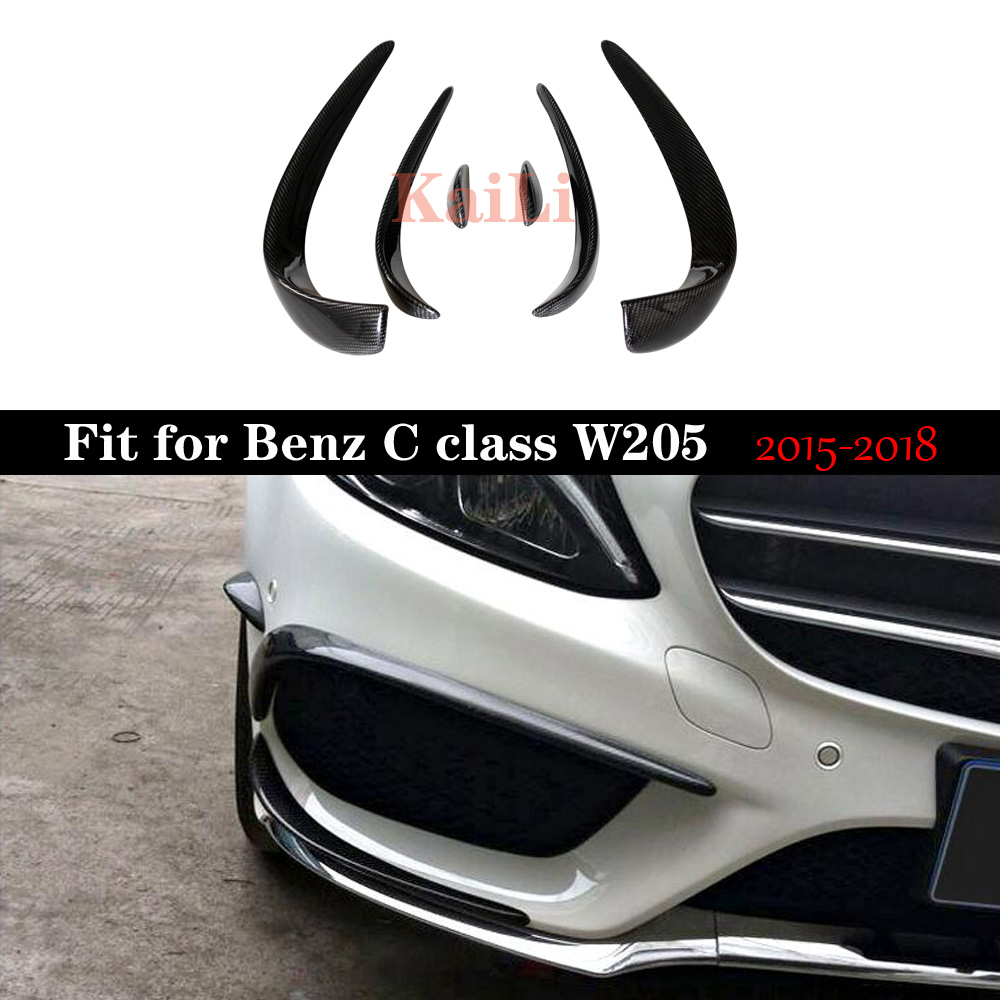 <font><b>W205</b></font> Carbon Fiber <font><b>Bumper</b></font> Canards For <font><b>Benz</b></font> C Class C205 With Package C43 2015-2018 C180 C200 C250 Splitter Canards image