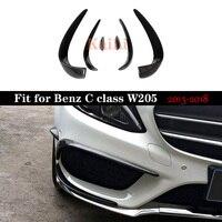 W205 Carbon Fiber Bumper Canards Für Benz C Klasse C205 Mit Paket C43 2015-2018 C180 C200 C250 Splitter canards