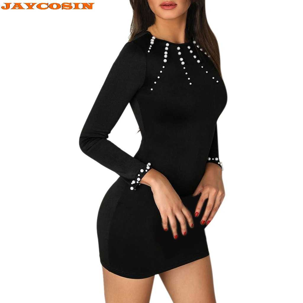 JAYCOSIN caliente alta calidad moda mujer con cuentas de manga larga Bodycon vestido pulóver señoras vestido de fiesta mujeres verano