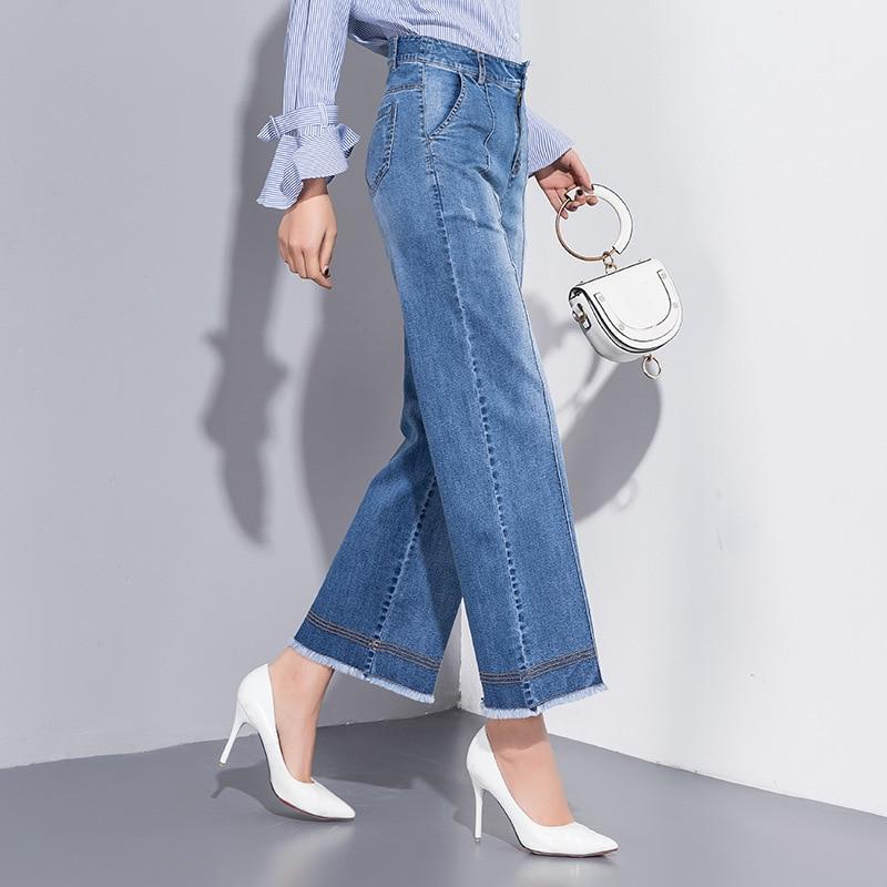 Tamaño Para Denim Rectos Primavera See De Chart Plus Mujeres Cintura Las 2019 Algodón Mujer Señoras Lavado Novio Pantalones Alta Vaqueros Verano Azul f0OqxpwO