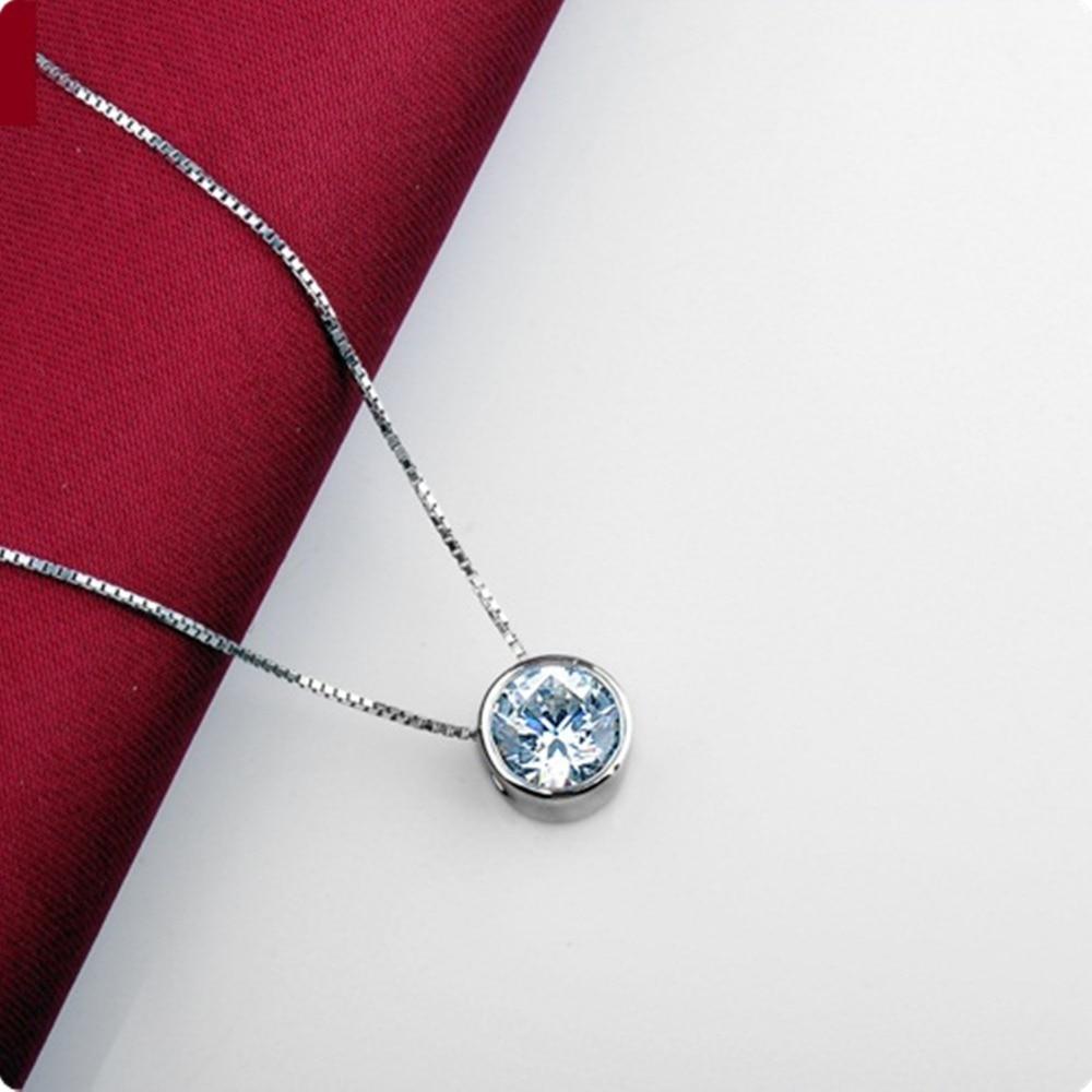 En gros 1 Carat Excellent pendentif Solitaire rond glisser diamant pendentif de fiançailles parfaitement 40 cm collier gratuit-in Pendentifs from Bijoux et Accessoires    2